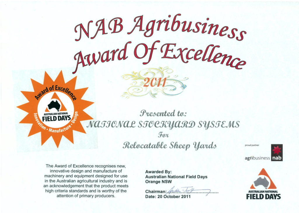 National Stockyards Sheep Yards Award of Excellence